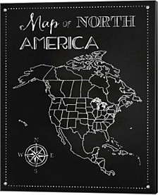 Chalk Map Of North America By Tina Lavoie Canvas Art