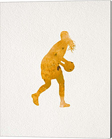 Basketball Girl Watercolor Silhouette Part III by Sports Mania Canvas Art
