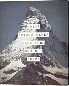 Great Things Never Came From Comfort Zones Strength - Mountain By Color Me Happy Canvas Art