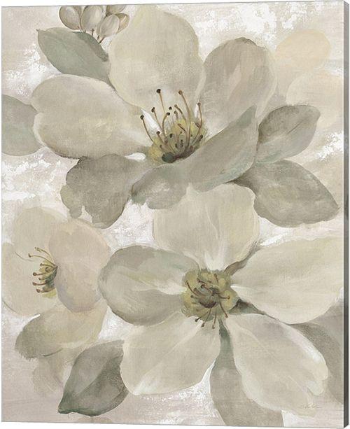 Metaverse White On White Floral I Crop Neutral By Silvia Vassileva Canvas Art