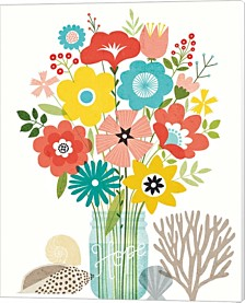 Seaside Bouquet Iv Mason Jar By Michael Mullan Canvas Art