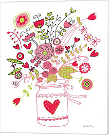 Valentines Flowers I By Farida Zaman Canvas Art