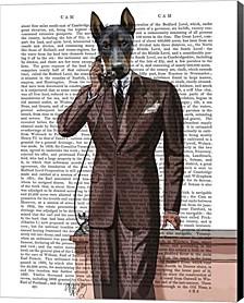 Doberman On Phone By Fab Funky Canvas Art