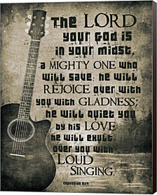 Zephaniah 3:17 The Lord Your God (Guitar Sepia) by Inspire Me Canvas Art