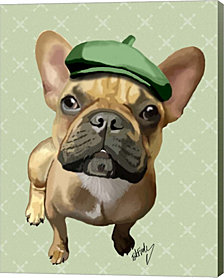 Brown French Bulldog With Green Hat By Fab Funky Canvas Art