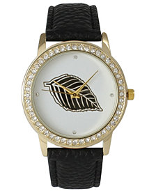Rhinestone Bezel and Leaf Leather Strap Watch