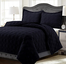 Lyon Microfiber Solid Oversized King Quilt Set