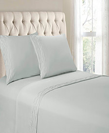 Hudson & Main Diamond Ruched Hem 4 Pieces Queen Sheet Set
