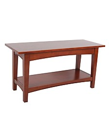 Shaker Cottage Bench with Shelf, Cherry
