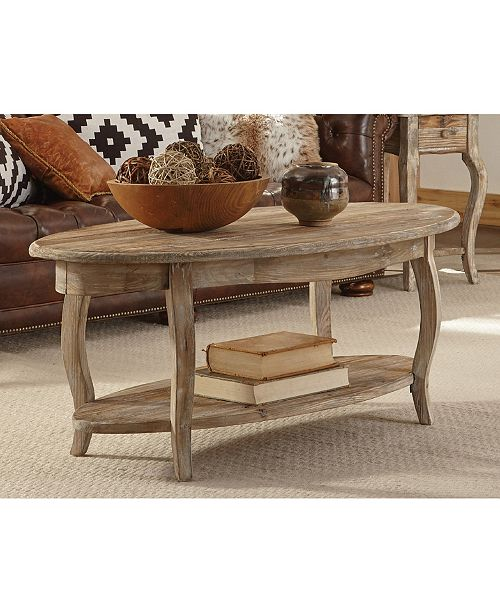 Rustic Reclaimed Oval Coffee Table Driftwood