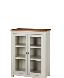 Savannah Pie Safe Cabinet, Ivory with Natural Wood Top