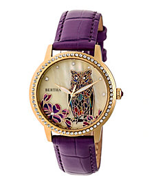 Bertha Quartz Madeline Collection Plum Leather Watch 36Mm