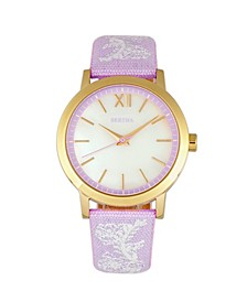 Quartz Penelope Collection Lavender And White Leather Watch 36Mm