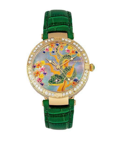 Bertha Quartz Mia Collection Green Leather Watch 38Mm