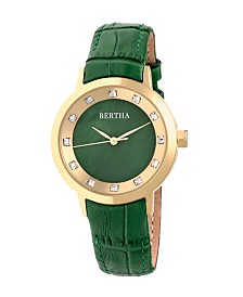 Bertha Quartz Cecelia Collection Greenleather Watch 34Mm