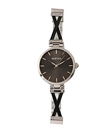 Bertha Quartz Amanda Collection Silver And Black Stainless Steel Watch 36Mm