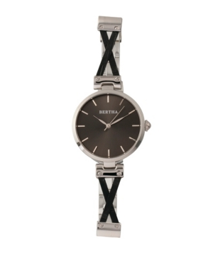 Quartz Amanda Collection Silver And Black Stainless Steel Watch 36Mm