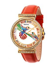 Bertha Quartz Emily Collection Gold And Orange Leather Watch 37Mm