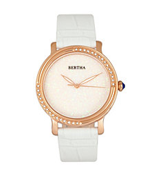 Bertha Quartz Courtney Collection White Leather Watch 37Mm