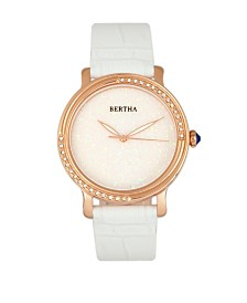 Bertha Quartz Courtney Collection White Leather Watch 37Mm