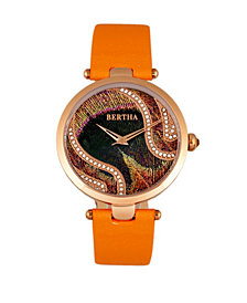 Bertha Quartz Trisha Collection Orange Leather Watch 39Mm