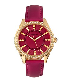 Quartz Clara Collection Hot Pink Leather Watch 39Mm