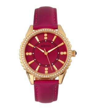 Bertha Quartz Clara Collection Hot Pink Leather Watch 39Mm