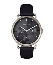 Bertha Quartz Gwen Collection Black Leather Watch 36Mm