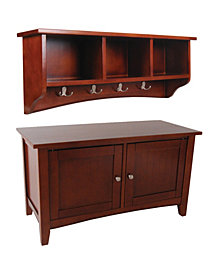 Shaker Cottage Storage Coat Hook with Cabinet Bench Set, Cherry