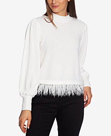 1.STATE Cozy Feather-Hem Mock-Neck Sweater