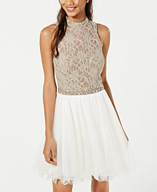 City Studios Juniors' Lace & Tulle Fit & Flare Dress