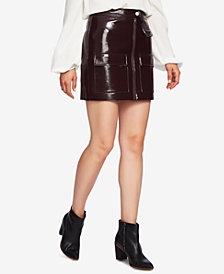 1.STATE Zip-Front Patent-Leather Mini Skirt