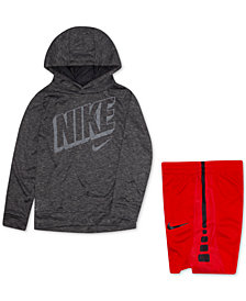 Nike Toddler Boys Hooded Graphic-Print Hoodie & Elite Stripe Shorts