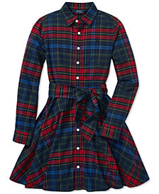 Polo Ralph Lauren Big Girls Plaid Flannel Cotton Shirtdress