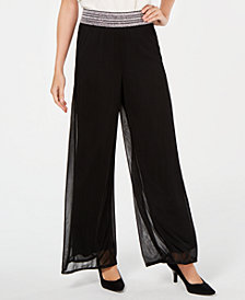 JM Collection Mesh Wide-Leg Pants, Created for Macy's