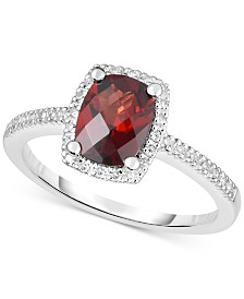 Amethyst (1-1/4 ct. t.w.) & Diamond (1/8 ct. t.w.) Ring in 14k White Gold (Also in Rhodolite Garnet, Blue Topaz & Peridot)