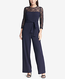 DKNY Belted Lace Jumpsuit, Created for Macy's