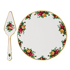 Old Country Roses Cake Plate & Server