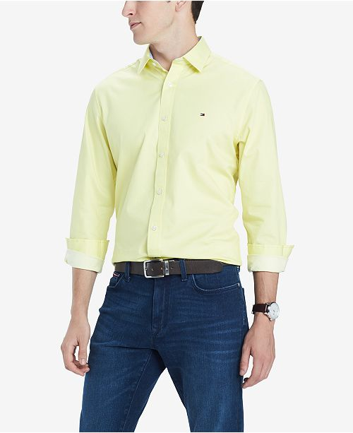 17b7e925 Tommy Hilfiger Men's Broome Custom-Fit Stretch Twill Shirt & Reviews ...