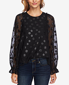 CeCe Printed Balloon-Sleeve Blouse