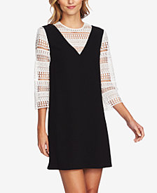 CeCe Mixed Media Shift Dress