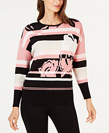 Alfani Petite Floral Striped Sweater, Created for Macy's