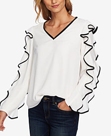 CeCe Ruffled Long-Sleeve Blouse