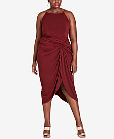City Chic Trendy Plus Size Twisted Drape Dress