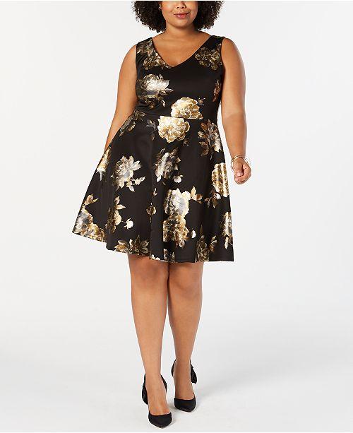 Soprano Trendy Plus Size Foil-Print Fit & Flare Dress