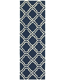 "CLOSEOUT! Tommy Bahama Home   Atrium Indoor/Outdoor 51111 Blue/Ivory 2'6"" x 8' Runner Area Rug"