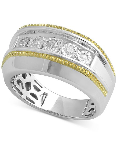 Macy's Men's Diamond Two-Tone Ring (1/5 ct. t.w.) in Sterling Silver & 14k Gold-Plate