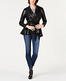I.N.C. Faux-Leather Rhinestone-Trim Trench Coat, Created for Macy's