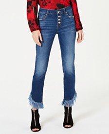 I.N.C. Fringe-Hem Button-Front Straight-Leg Jeans, Created for Macy's