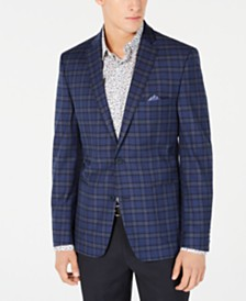 Bar III Men's Slim-Fit Stretch Dark Blue Plaid Sport Coat, Created for Macy's